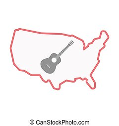 Isolated USA map with a six string acoustic guitar -...