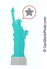 Isolated Statue of Liberty with a star