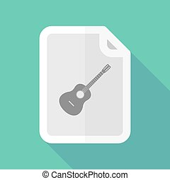 Long shadow document with a six string acoustic guitar -...