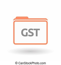 Isolated folder with  the Goods and Service Tax acronym GST