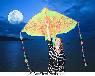 Woman with kite - Beautiful woman with kite on the beach...