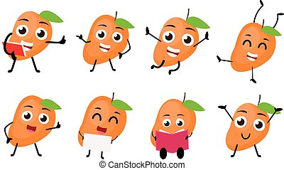 Mango fruits cartoon character - vector illustration of...