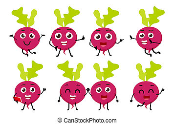 set of funny beetroot vegetable cartoon character -...
