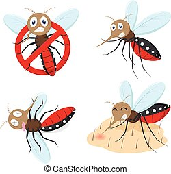 Mosquito cartoon collection set - vector illustration of...