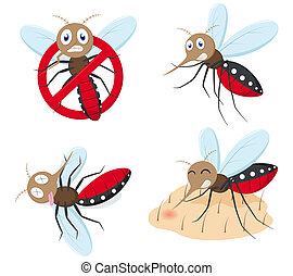 Mosquito cartoon collection set - illustration of Mosquito...