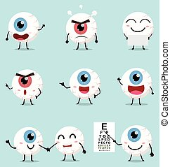 Cartoon eye ball collection set