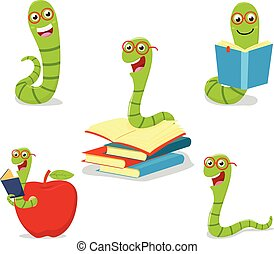 Bookworm cartoon collection set - vector illustration of...