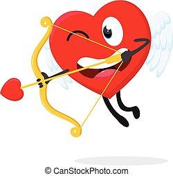 Cute heart Cupid ready to shoot with arrow