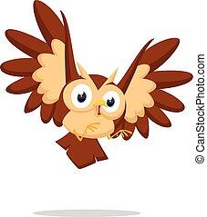 Cute owl cartoon - vector illustration of Cute owl cartoon