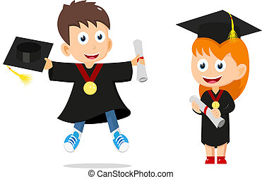 Happy graduates kids cartoon