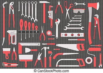 Wall with tools - Black wall with set of different tools in...