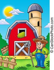 Big red barn with farmer - color illustration.