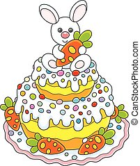 Easter cake with a bunny - Vector illustration of a...