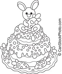 Easter cake with a bunny - Black and white vector...