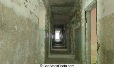 Corridor in the abandoned house. Smooth and slow dolly shot
