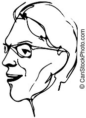 vector sketch of the face of an adult male with glasses -...