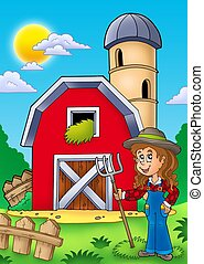 Big red barn with farmer girl - color illustration.