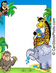 Frame with happy African animals - color illustration