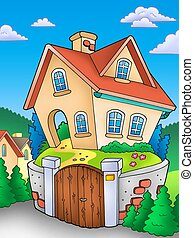 Family house on countryside - color illustration.