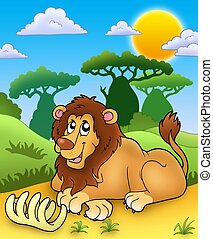 Cute lion with bone - color illustration.