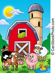 Big red barn with farm animals - color illustration.