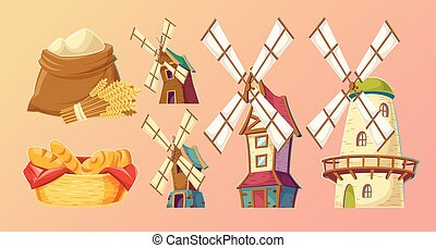 Cartoon illustrations traditional old windmills.