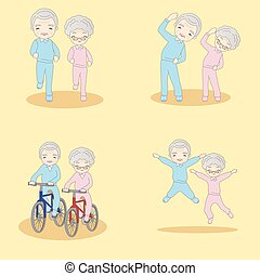 old couple doing excercise
