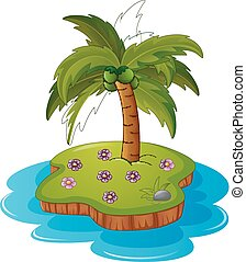 A tropical island - Vector illustration of a tropical island