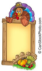Wooden frame with lurking turkey - color illustration