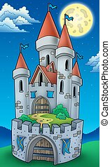 Night view on tall castle - color illustration
