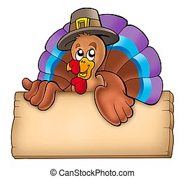 Wooden board with lurking turkey - color illustration.