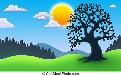 Leafy tree silhouette in landscape - color illustration