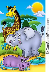Group of various African animals 2 - color illustration.