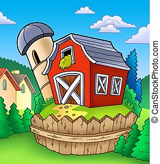 Red barn with fence on countryside - color illustration