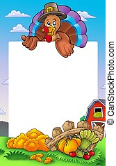 Thanksgiving frame with turkey 2 - color illustration.