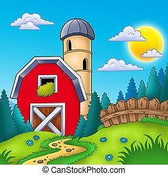 Meadow with big red barn - color illustration.