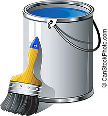 Bucket of paint and paintbrush. Over white. EPS 8, AI, JPEG