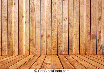 Empty wooden interior room for product placement