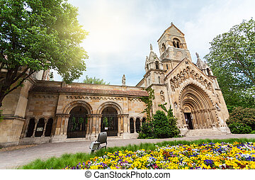 Vajdahunyad Castle in the City Park of Budapest, Hungary. -...