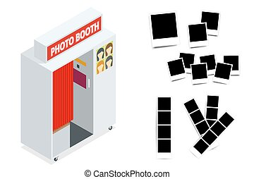 Isometric Compact Photo Booth and Photo frames. Flat 3d...