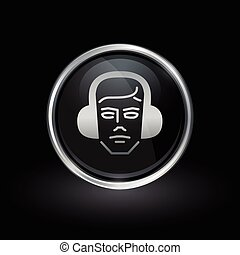 Construction worker icon inside round silver and black emblem