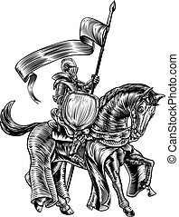 Knight on Horse Vintage Woodcut Engraving