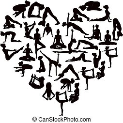 Yoga Poses Silhouettes Heart - A heart shaped set of...