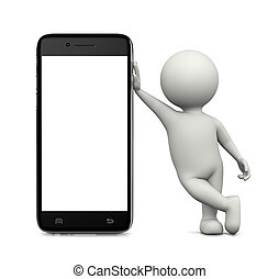 3D Character Leaned on a Blank Display Smartphone - White 3D...
