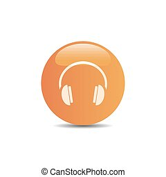 Headphones icon on a orange button and white background