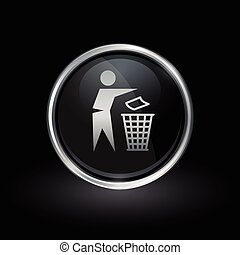 Trash disposal bin icon inside round silver and black emblem