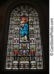 Saint Paul the Apostle. Stained glass in Christchurch...