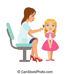 Otolaryngologist Checking Hearing Of A Little Girl, Part Of...