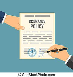 Man signs insurance policy. Insurance agent holds contract...