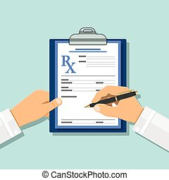 Medical concept with prescription on rx form - Doctor writes...